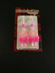 Light pink lollipop earrings with pink beads