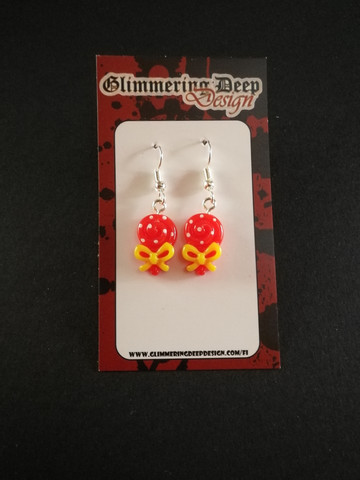 Small red lollipop earrings  with dots