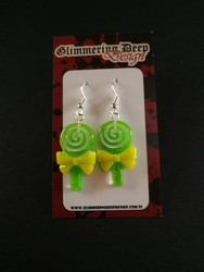 Green lollipop earrings
