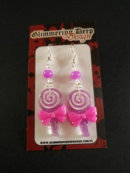 Violet lollipop earrings with violet beads