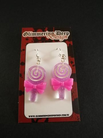 Violet lollipop earrings