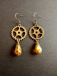 Steampunk gear earrings with yellow drops