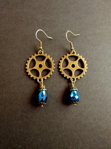 Steampunk gear earrings with blue drops