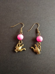 Pink teapot earrings