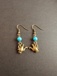 Light blue teapot earrings