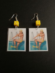Stamps earrings pin-up swimming