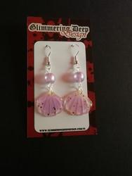 Lilac glitter shell earrings