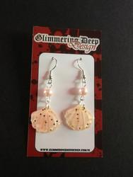 Peach coloured shell earrings