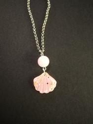 Light pink glitter shell earrings