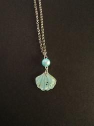 Light blue glitter shell necklace