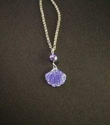Violet glitter shell necklace