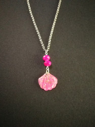 Pink glitter shell necklace