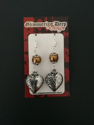 Heart earrings with gold coloured beads