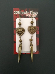 Antique hearts earrings with spikes and beads
