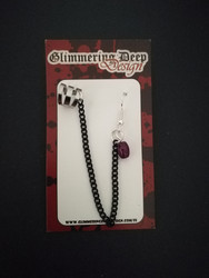 Link earrings with violet beads and Black chain
