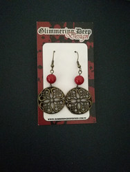 Viking earrings with red bead