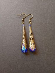 Blue medieval earrings