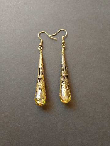 Yellow medieval earrings