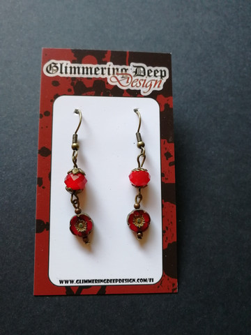 Red flower earrings with red beads