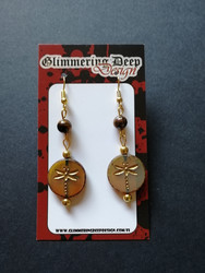 Dragonfly earrings with tiger eye stonebeads