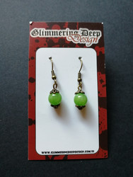 Green stone beads earrings