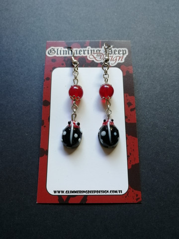 Ladybug earrings with beads