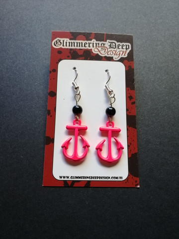 Pink anchor earrings