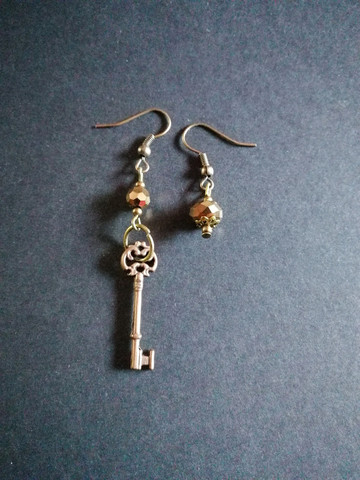 Key and bead earrings