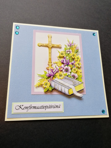 Confirmation card with cross and book