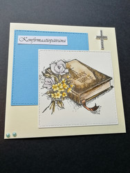 Blue confirmation day card Holy bible