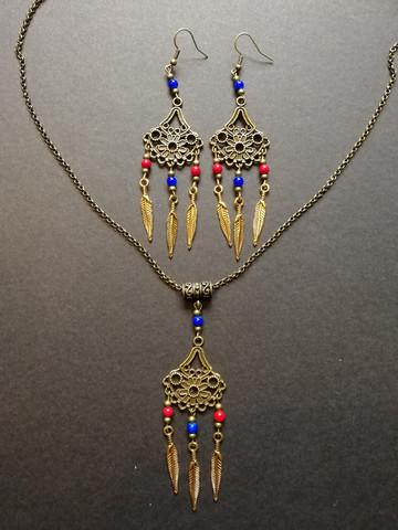 Bohem Jewellery set feather