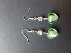 Greenish heart earrings