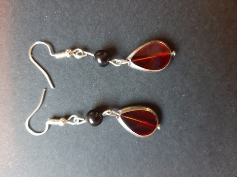 Red glass droplet bead earrings