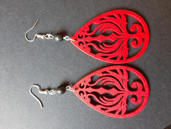 Large red wooden earrings