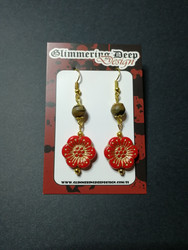 Red flower earrings with wood beads