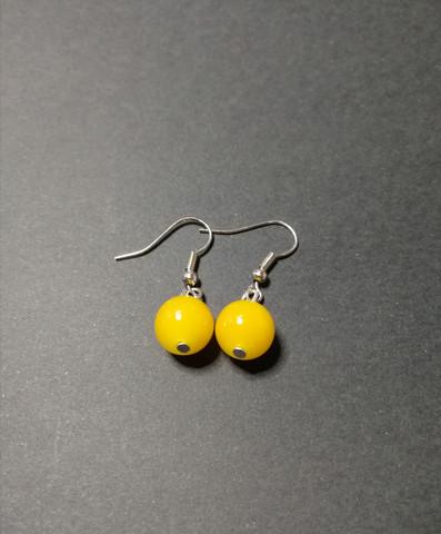Yellow little ball earrings