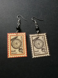 Stamps earrings compass