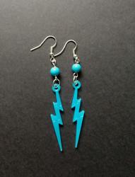 Blue lightning earrings