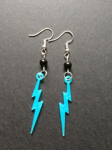 Blue lightning earrings with black beads