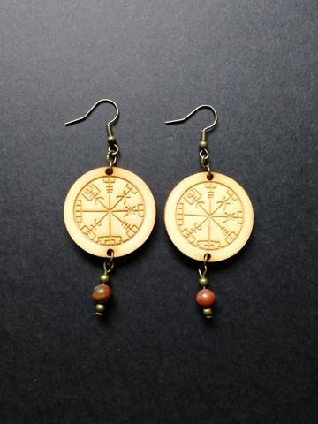Viking Earrings Vegvisir with stone beads