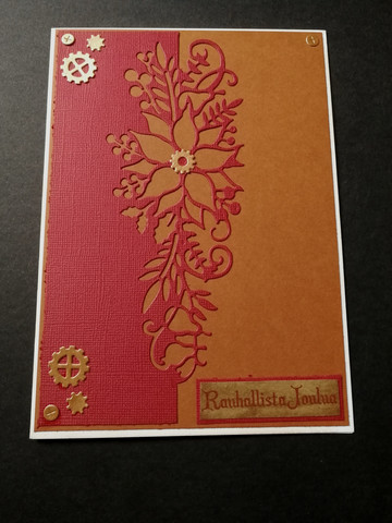 Steampunk Christmas card flower and gears