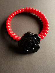 Red Memory Wire Bracelet with black rose