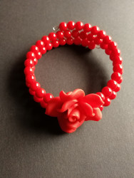 Red Memory Wire Bracelet with red rose