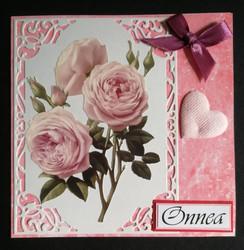 Vaaleanpunainen ruusukortti