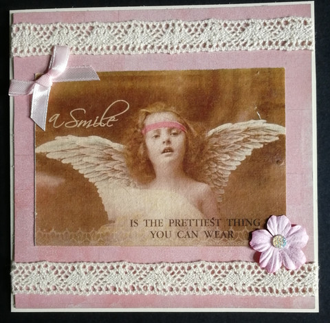 Vaaleanpunainen vintage enkeli kortti