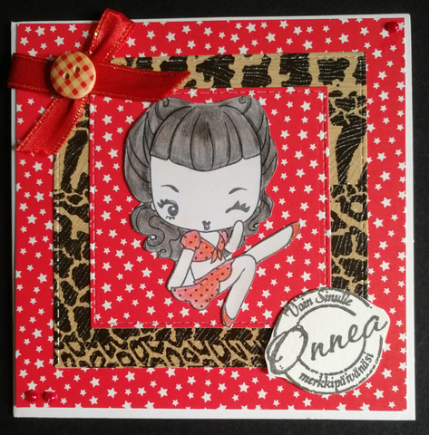 Red pin-up girl card