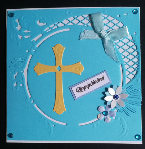 Light blue Confirmation card with cross and flowers