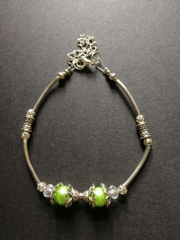 Silver and green bracelet