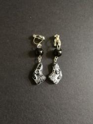 Black dog clip earrings