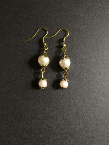 Light pink steampunk earrings